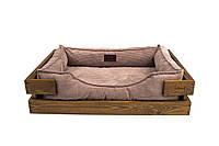 Лежак c каркасом для собак Harley and Cho Dreamer Nature + Cacao Velvet 3020502, 70*50 см