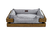 Лежак c каркасом для собак Harley and Cho Dreamer Nature + Gray Velvet 3100327, 50*40 см