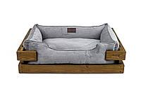 Лежак c каркасом для собак Harley and Cho Dreamer Nature + Gray Velvet 3100329, 90*60 см