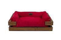 Лежак c каркасом для собак Harley and Cho Dreamer Nature + Red Velvet 3100449, 90*60 см