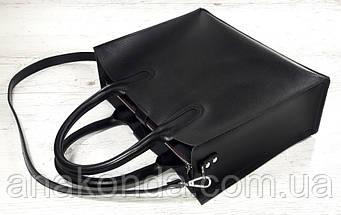 71-6 Натуральная кожа,Сумка женская черная кожаная сумка женская сумка черная с тиснением и подкладкой бордо, фото 2