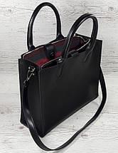 71-6 Натуральная кожа,Сумка женская черная кожаная сумка женская сумка черная с тиснением и подкладкой бордо, фото 3