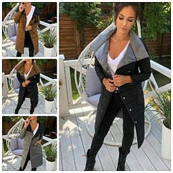 Стильное тёплое женское пальто-двустороннее с плащёвки 2 цвета, TS-31829