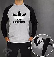 Зимний спортивный костюм , костюм на флисе Adidas, адидас, серо-черный, реглан, хб, тренировочный, черное лого