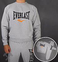 Зимний спортивный костюм , костюм на флисе Everlast, еверласт, серый, реглан, спортивный, большое лого, в наличии