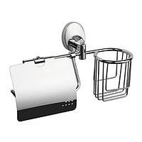 Бумагодержатель для туалета с крышкой и корзиной ZERIX LR3303-1