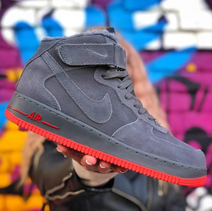 Зимние мужские кроссовки Nike Air Force 1 Mid Winter c мехом, nike air force high