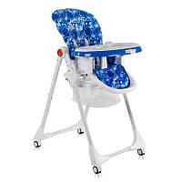 """Детский стульчик для кормления JOY К-22810 (1) """"Космос"""" цвет бело-синий, мягкий PVC, в коробке"""