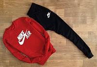 Зимний спортивный костюм, костюм на флисе Nike черный красная толстовка, реплика