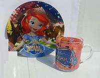 Стеклянная тарелочка и чашечка для  девочек София Прекрасная (Принцесса София)