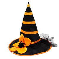 Карнавальный колпак ведьмы с пауком, 38*38 см, пластик, черно-оранжевая (462711).