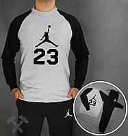 Зимний спортивный костюм, костюм на флисе Jordan 23 черный с серым,