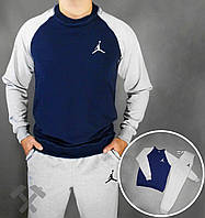 Зимний спортивный костюм, костюм на флисе Jordan серый с синим,