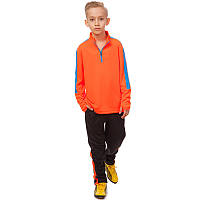 Костюм для тренировок по футболу детский LD-2002T-OR (полиэстер, р-р 26-32, оранжевый-голубой-черный)