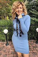 Теплое трикотажное платье с капюшоном LUREX - голубой цвет, L (есть размеры)