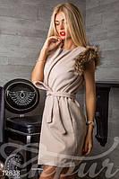 Женский модный жилет кашемировый плечи украшены натуральным мехом из енота
