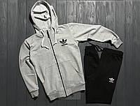 Зимний спортивный костюм, костюм на флисе Adidas серого и черного цвета,