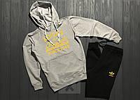 Зимний спортивный костюм, костюм на флисе Adidas originals серого и черного цвета,