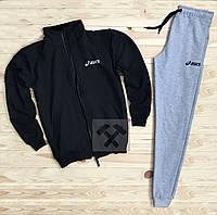 Зимний спортивный костюм, костюм на флисе Asics черного и серого цвета,
