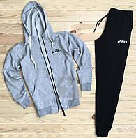 Зимний спортивный костюм, костюм на флисе Asics серого и черного цвета,