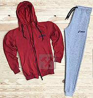 Зимний спортивный костюм, костюм на флисе Asics красного и серого цвета,