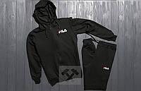 Зимний спортивный костюм, костюм на флисе FILA черного цвета,