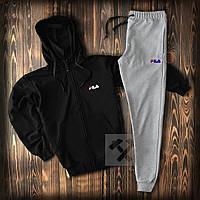 Зимний спортивный костюм, костюм на флисе FILA черного и серого цвета,