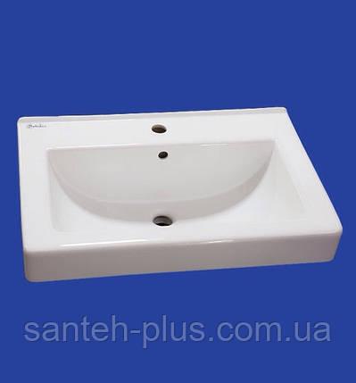 Тумба шпонированная ( цвет белый+цвет венге) для ванной комнаты Принц Т6 с умывальником Диана-80, фото 2