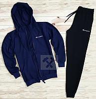 Мужской зимний спортивный костюм, костюм на флисе Champion синего и черного цвета,