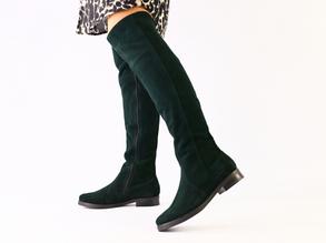 Женские замшевые зеленые ботфорты