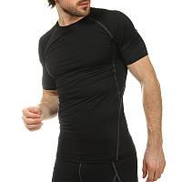 Компрессионная мужская футболка с коротким рукавом LD-1103-GK (лайкра, L-3XL, черный-серый)