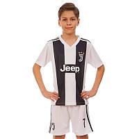 Форма футбольная детская JUVENTUS RONALDO 7 домашняя 2019 Zelart CO-8023 (р-р 20-28-6-14лет, 110-155см, белый-черный)