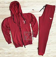 Зимний спортивный костюм, костюм на флисе Armani красного цвета,