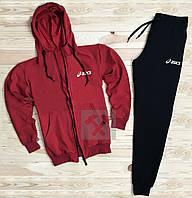 Зимний спортивный костюм, костюм на флисе Asics красного и черного цвета,