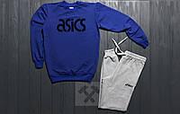 Зимний спортивный костюм, костюм на флисе Asics синий с серым,