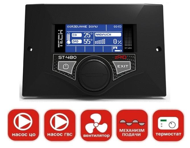 Автоматика для котла с автоподачей топлива Tech ST-480 zPID