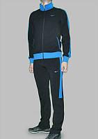 Зимний спортивный костюм, костюм на флисе найк черный с синими вставками, с3204