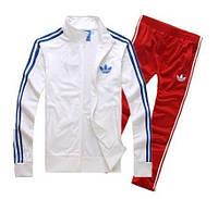 Зимний спортивный костюм, костюм на флисе Adidas, белый верх, красный низ, с лампасами с163