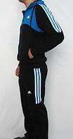 Зимний спортивный костюм, костюм на флисе Adidas, черная кофта с голубым верхом, черные штаны, с лампасами с314