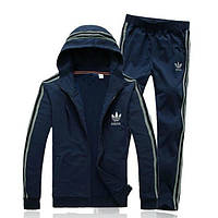 Зимний спортивный костюм , костюм на флисе Adidas, темно-серый костюм, с капюшоном, с лампасами, с316