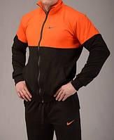Зимний спортивный костюм, костюм на флисе Nike, оранжевая кофта, черные штаны, с3051