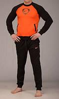 Зимний спортивный костюм, костюм на флисе найк, черные рукава и штаны, оранжевое туловище, с3052