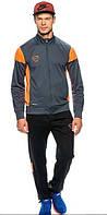 Зимний спортивный костюм, костюм на флисе Nike, темно-серый, с оранжевыми вставками, с3065