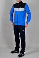 Зимний спортивный костюм, костюм на флисе Nike, синий верх, черный низ, с3111