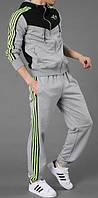 Зимний спортивный костюм, костюм на флисе Adidas, серая кофта с черным верхом, серые штаны, с лампасами с259
