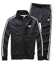 Зимний спортивный костюм, костюм на флисе Adidas, черный костюм, с лампасами, с2945