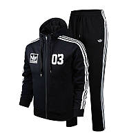 Зимний спортивный костюм, костюм на флисе Adidas, черный костюм с лампасами, с2966