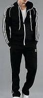 Зимний спортивный костюм, костюм на флисе Adidas, черный костюм, с лампасами, с2967