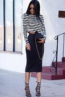 Костюм топ+юбка морячка с черной юбкой, фото 1