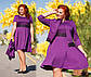 """Элегантный женский комплект платье + жакет в больших размерах 41341 """"Клёш Кружево Контраст"""" в расцветках, фото 2"""